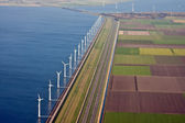 Aerial view at windfarm in the sea, the Netherlands — Stock Photo