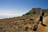 Boy in volcanic landscape at La Palma, Canary Islands — Stock Photo