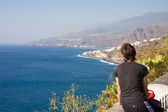 Female looking at the seascape of La Palma, Canary Islands — Stok fotoğraf