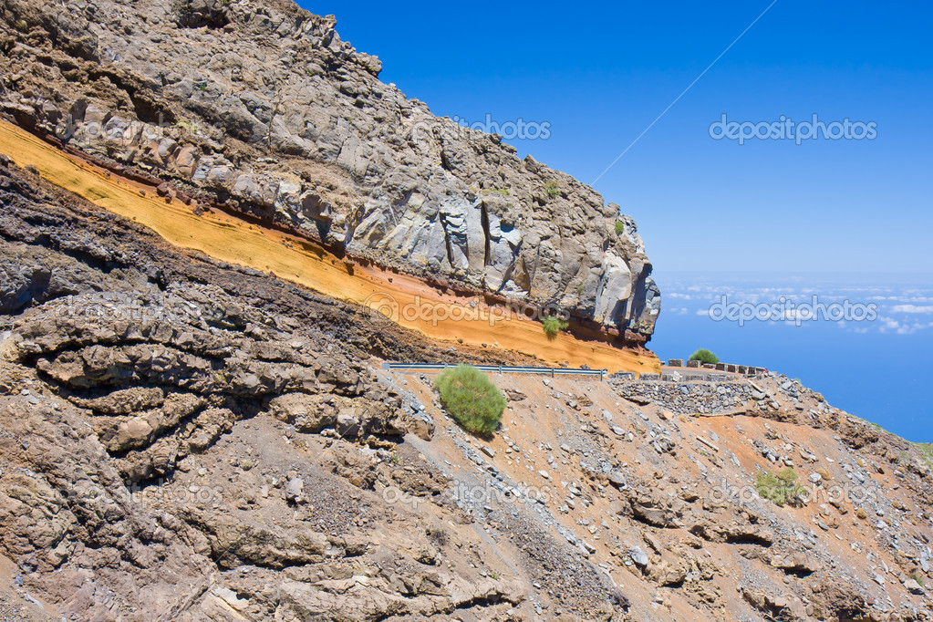 Road through volcanic landscape in the mountains of La Palma — Stock Photo #8013879