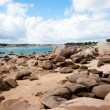 Stock Photo: Ebb tide in bay at rocky coast of Brittany, France