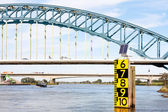 Measurement of the freeboard of a big bridge in the Dutch over t — Stock Photo