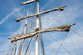 Rigging and masts of a big sailboat — Stock Photo