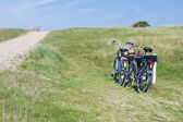 Two bicycles parked in the dunes in Netherlands. — Stock Photo