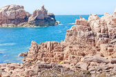 Famous pink granite rocks in Brittany, France — 图库照片