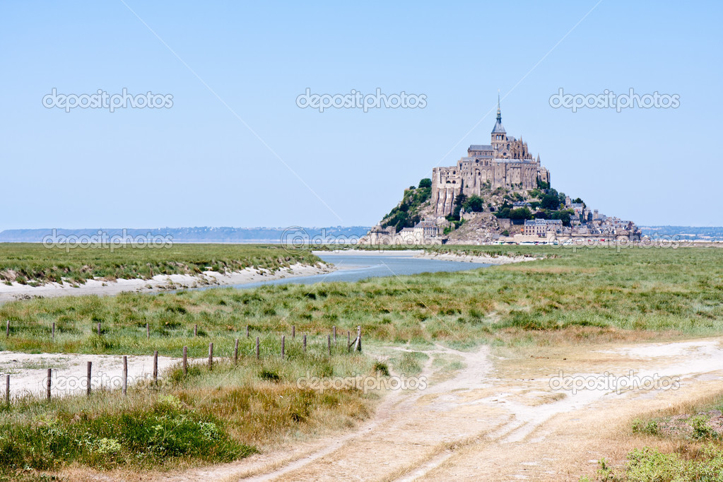 Saint Mont Michel, medieval abbey in Brittany, France  Stock Photo #8226343