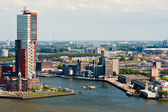 Skyline of Rotterdam, second city of the Netherlands — Stock Photo