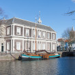 Traditional wooden barge in old historic harbor of Schiedam, The - Foto Stock