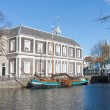 Traditional wooden barge in old historic harbor of Schiedam, The - Stockfoto