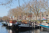Barges in old historic harbor of Schiedam, The Netherlands — Stock Photo