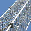 Detail of telecommunication tower with  blue sky - 图库照片