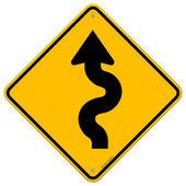 Sinal de estrada sinuosa — Vetorial Stock