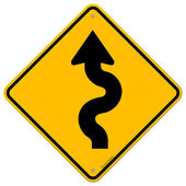 Winding Road Sign — Vector de stock