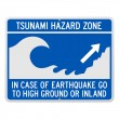 Tsunami Danger Sign - Stock Vector