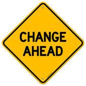 изменения впереди желтый знак — Cтоковый вектор