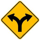 Bifurcação na estrada, sinal — Vetorial Stock