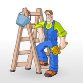 Painter Painting With Ladder — Stock Vector