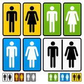 Male and Female Restrooms Vector Sign — Vector de stock
