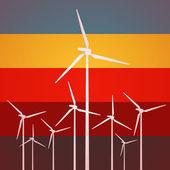 Wind Turbines Vintage Style — Stock Vector