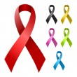 Ribbon in various colors — Imagen vectorial