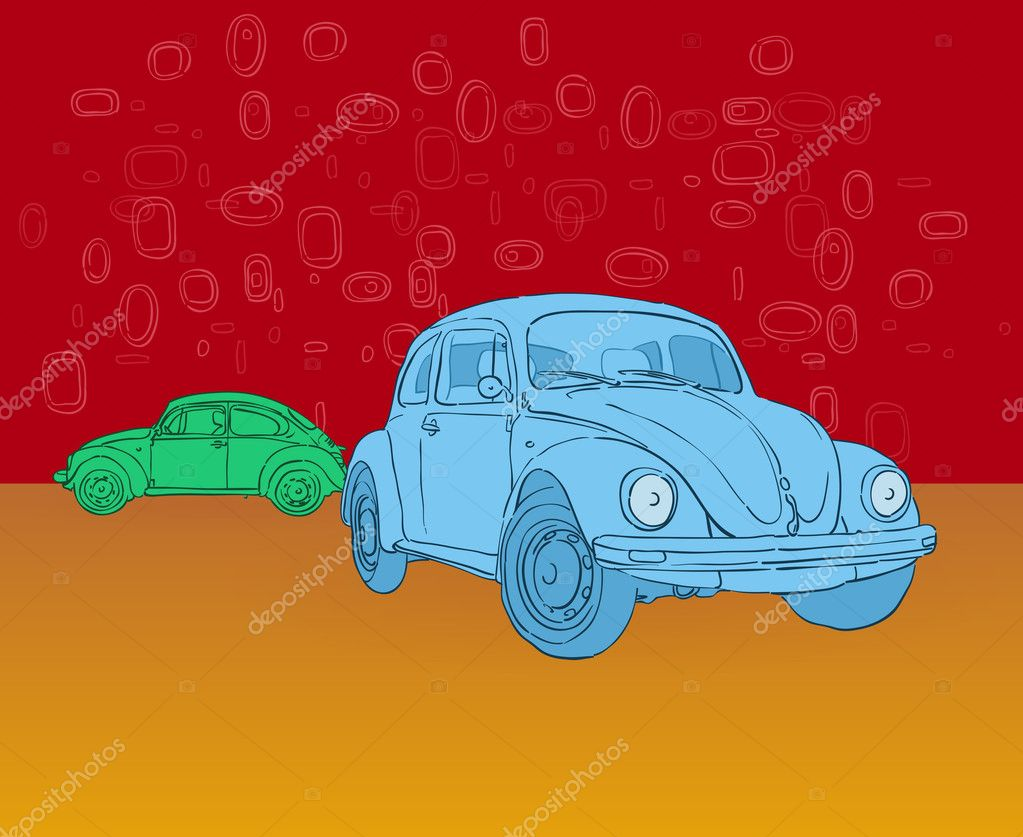 Blue and Green Illustrated Beetle Car on Red and Orange background — Stock Vector #9525342