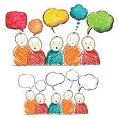 Mano dibujar figuras con burbujas de discurso — Vector de stock