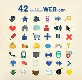 42 icônes dessinés à la main — Vecteur