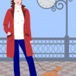 Girl and dog - Stock Vector
