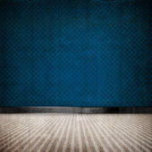 Blue retro vintage grunge empty room — Stock Photo