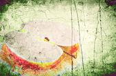 Grunge een achtergrond appel op een oude muur — Stockfoto