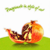 Pomegranate in style of art — Stock Photo