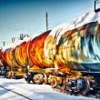 Train with fuel petrol tanks on the railway — Stock Photo #8752633