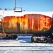 Train with fuel petrol tanks on the railway — ストック写真