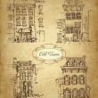 Set of old hand drawn houses — Vettoriali Stock