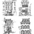 Set of old hand drawn houses — Stock Vector