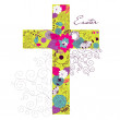Beautiful cross made from flowers — Stock Vector #10377121