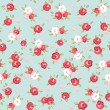 English Rose, Seamless wallpaper pattern with pink roses on blue background — Vector de stock