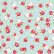 English Rose, Seamless wallpaper pattern with pink roses on blue background - Stock Vector