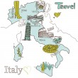 Creative map of Italy - Stock Vector