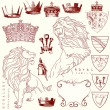 Et of lion and crown heraldry - Stock Vector