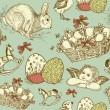 Vintage Easter Seamless background — Stock Vector