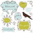 Vector de stock : Doodle frames in French style