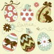 Cute Easter Egg set - Stock Vector