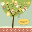 Retro Easter card with a tree, painted eggs, cicks, flowers and other cute elements — Stock Vector