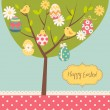 Stock Vector: Easter card. Retro Easter tree card