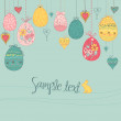 Hanging easter eggs and hearts — Stock Vector