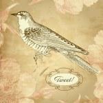 Vintage card with a bird — Stock Vector