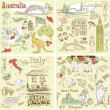 Italy, England, Australia, USA - four wonderful collections of hand drawn doodles - Stock Vector