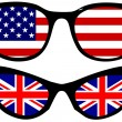 Cool Spectacles with American and British flags - Stock Vector