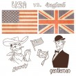 Stock Vector: America versus Great Britain